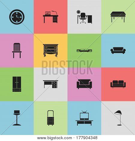 Set Of 16 Editable Furniture Icons. Includes Symbols Such As Canape, Cabinet, Seat And More. Can Be Used For Web, Mobile, UI And Infographic Design.