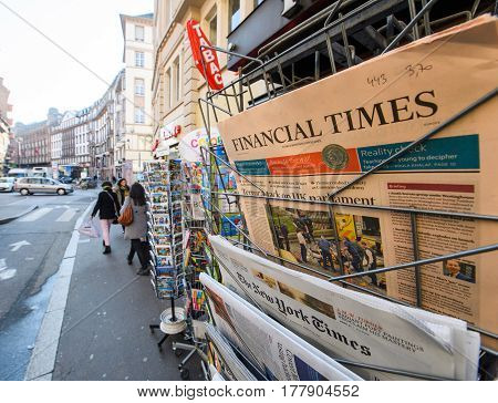 PARIS FRANCE - MAR 23 2017: Cover of International press Financial Times newspaper at French press kiosk newsstand featuring headlines following the terrorist incident in London at the Westminster Bridge