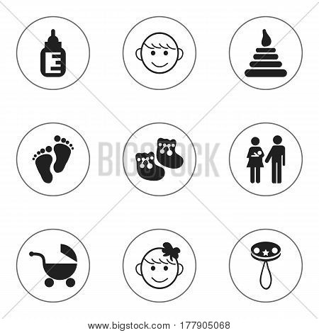 Set Of 9 Editable Baby Icons. Includes Symbols Such As Footmark, Nursing Bottle, Rattle And More. Can Be Used For Web, Mobile, UI And Infographic Design.