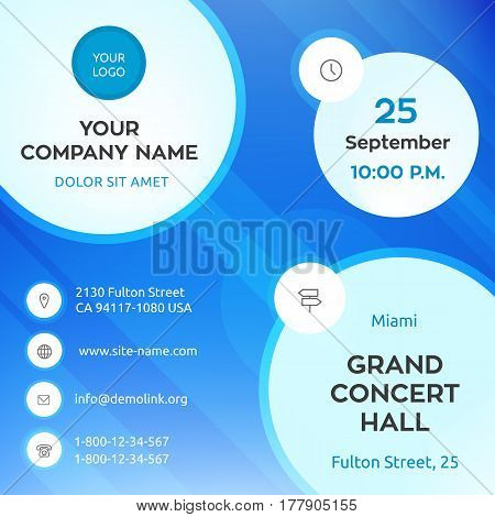 Business graphics banner template, blue colorful vector design