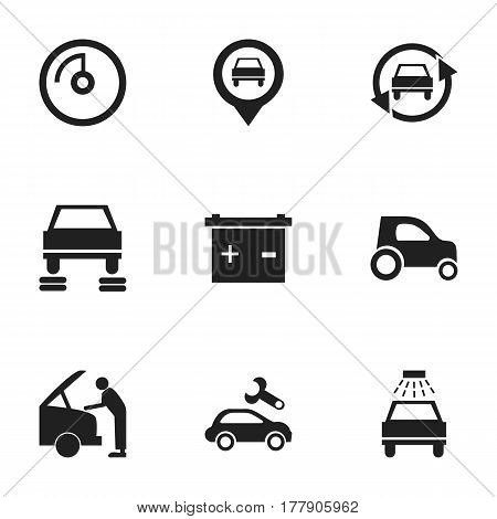 Set Of 9 Editable Traffic Icons. Includes Symbols Such As Automotive Fix, Accumulator, Tuning Auto And More. Can Be Used For Web, Mobile, UI And Infographic Design.