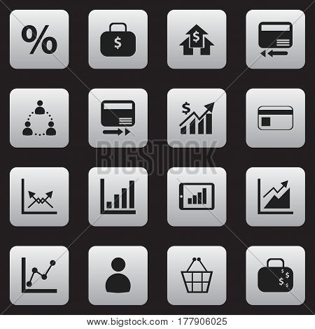 Set Of 16 Editable Analytics Icons. Includes Symbols Such As Trading Purse, Banking House, Revenue And More. Can Be Used For Web, Mobile, UI And Infographic Design.