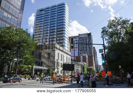 Montreal, Quebec, Canada - 18 July 2016 - Generic Street In Downtown In Montreal In Summertime With