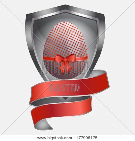 Red Metallic and Decorated Easter Egg Over Metallic Shield with Red Banner