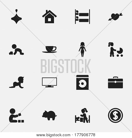 Set Of 16 Editable Relatives Icons. Includes Symbols Such As Monitor, Mom, Bunk Bed And More. Can Be Used For Web, Mobile, UI And Infographic Design.