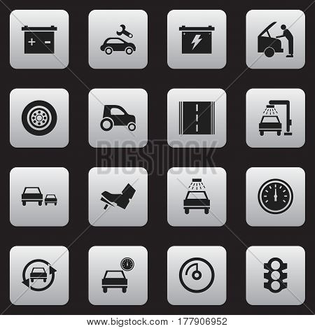 Set Of 16 Editable Traffic Icons. Includes Symbols Such As Vehicle Wash, Speed Control, Battery And More. Can Be Used For Web, Mobile, UI And Infographic Design.