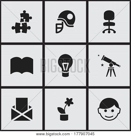 Set Of 9 Editable Education Icons. Includes Symbols Such As Scholar, Dictionary, Binoculars And More. Can Be Used For Web, Mobile, UI And Infographic Design.