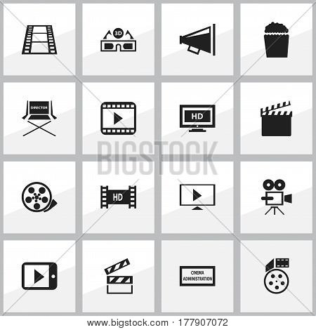 Set Of 16 Editable Movie Icons. Includes Symbols Such As Loudspeaker, Tape, Movie Player And More. Can Be Used For Web, Mobile, UI And Infographic Design.