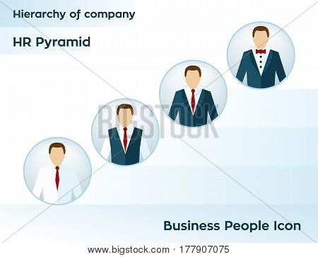 Business people icon. Manager user icon. Hierarchy of company. HR pyramid. Company business structure. Vector illustration