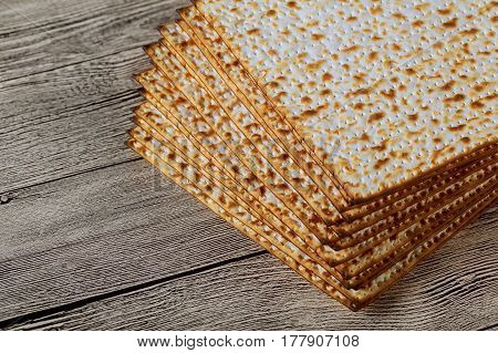 Jewish Kosher Matzo For Passover A Wooden Table.