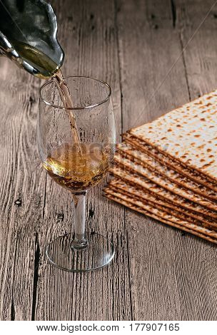 Wine And Matzoh Jewish Passover Bread
