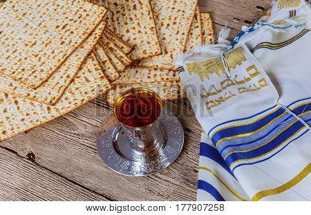 Wine And Matzoh Jewish Passover Bread