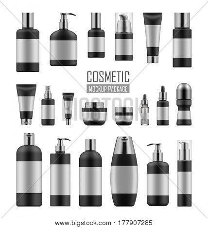 Mock up of black and silver packages for cosmetic prodact. Set of vector realistic blank templates of plastic containers: bottles with spray, pump dispenser and dropper, tubes and jars