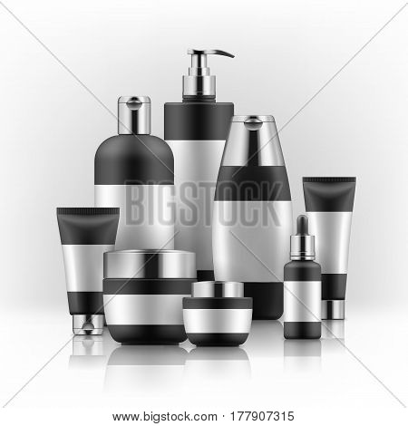 Vector illustration with set of realistic package for cosmetic product. Blank templates of jar, tube, bottles with dispenser and dropper. Mock-up of empty black and silver plastic containers on white