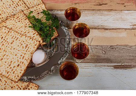 Matzo, Egg And Wine For Passover Celebration