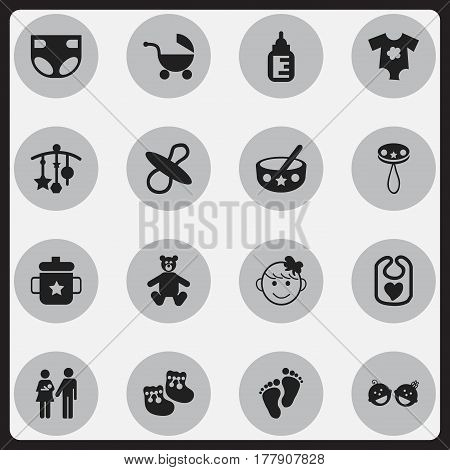 Set Of 16 Editable Infant Icons. Includes Symbols Such As Teddy, Shoes For Babies, Soothers And More. Can Be Used For Web, Mobile, UI And Infographic Design.
