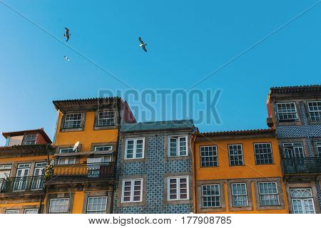 Facades of the houses in old part of Porto, Portugal.