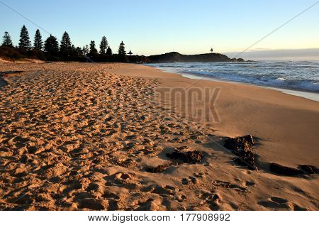 Sunrise at the beach of Tuross Head in summertime early morning. Tuross Head is a seaside village on the south coast of New South Wales Australia.