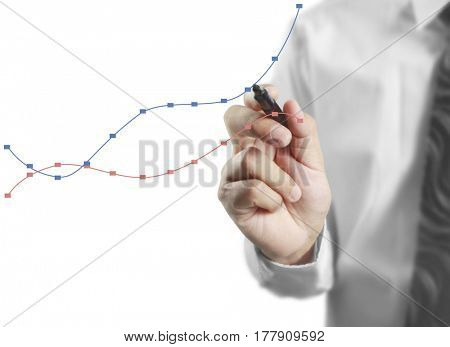 Businessman drawing graph trend lines
