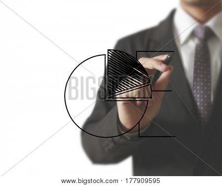 Businessman drawing graphics