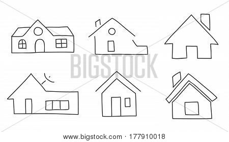 Icon Thin Line  Home Hand Drawn Vector Set Art Illustration