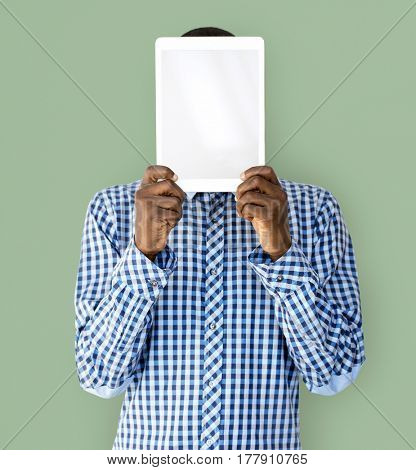 Man with Hands Hold Digital Tablet Copy Space