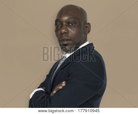 African Descent Man Folding Arms Concept
