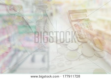 Abstract blurred photo of store with trolley in department store for background. Business Concept.