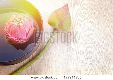 Pink lotus flower floating in water and wooden background, spa concept. Blurry lilies and artificial light and copy space. Technical Writing Property artificial light.