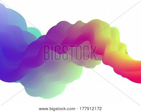 Vector fluid background with colored paint splash in water. Abstract flowing wave shape in rainbow colors. Liquid futuristic graphic design for brochure, banner, poster, cover, flyer, business cards.