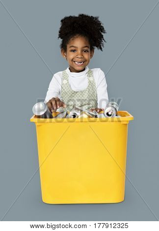 African Descent Girl holding Plastic Container