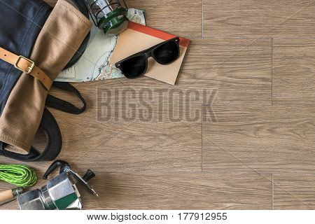 Top View Of Travel Stuff On Wood Background, Camping And Coffee,