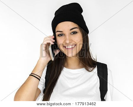 Young Adult Woman Face Smile Expression Using Mobile Phone Studio Portrait