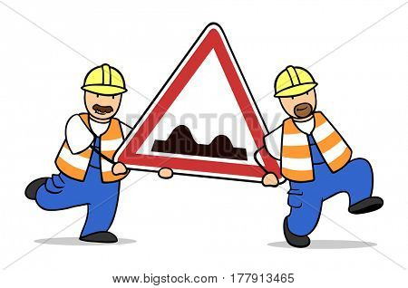 Two cartoon road worker carrying