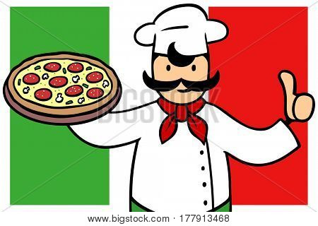 Original italian pizza in pizzeria with cartoon baker holding thumbs up