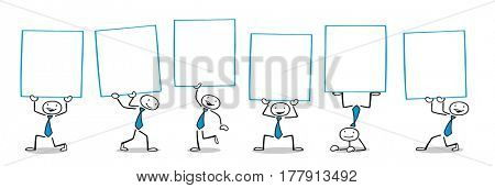 Group of cartoon business people holding up blank white signs