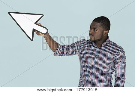 African descent man holding cursor