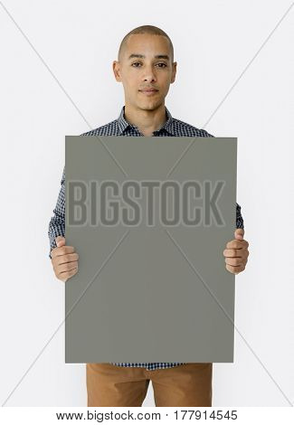Happiness man holding blank banner studio portrait