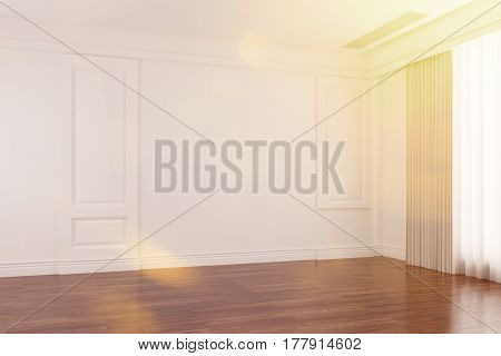 Empty bright room with sunlight in summer (3D Rendering)