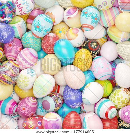 Many colorful decorated easter eggs as background (3D Rendering)