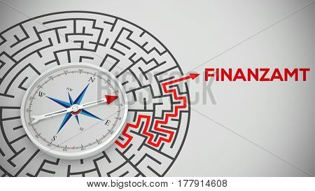 Arrow of compass leading out of maze to German word