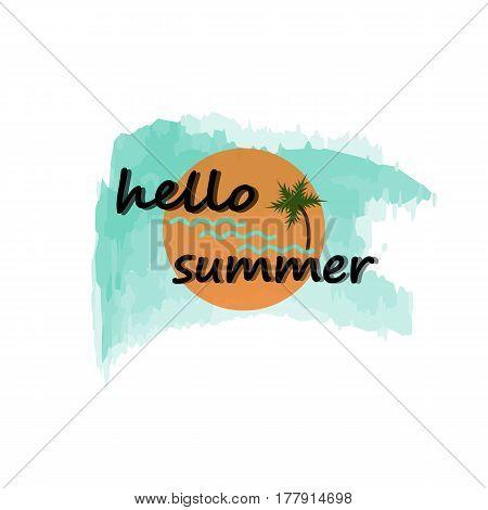 The Hello Summer logo has sun, sea, coconut water.