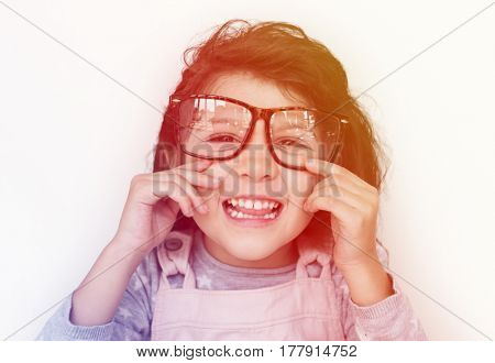 Young girl making facial expression