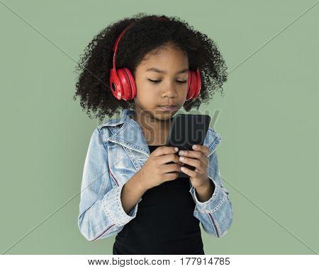 Little Girl Holding Phone Headphones