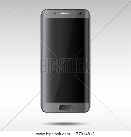 Realistic Black Smartphone - Vector black and grey smartphone with blank, shiny screen and rounded edges. Easy to add in your image to the screen with transparent shine layer on top. Eps10 file with transparency.