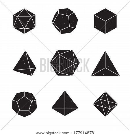 Geometric Shapes - Platonic Solids; set of 9 geometric designs. Texture is on a separate layer and can be easily removed.