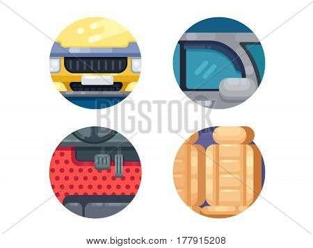 Auto icons set. Gas and brake pedals, car interior and front. Vector illustration. Pixel perfect icons size - 128 px