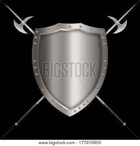 Medieval silver shield with riveted border and two axes on black background.