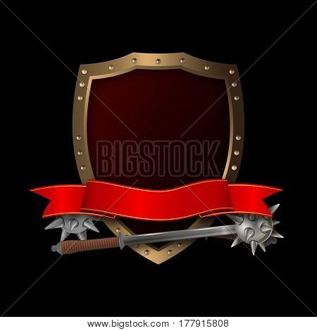 Medieval golden shield with riveted borderred ribbon and two maces on black background.