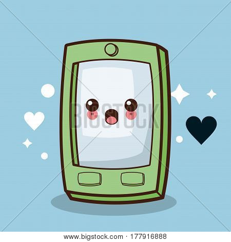 kawaii smartphone character cartoon vector illustration eps 10